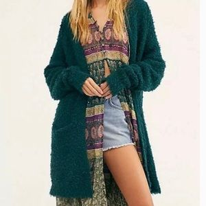 Free People Green Over-Sized Cardigan Sweater XS